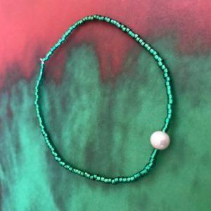 Miyuki bracelet with pearl metallic green