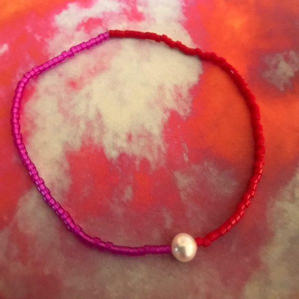 Miyuki bracelet with pearl pink & red